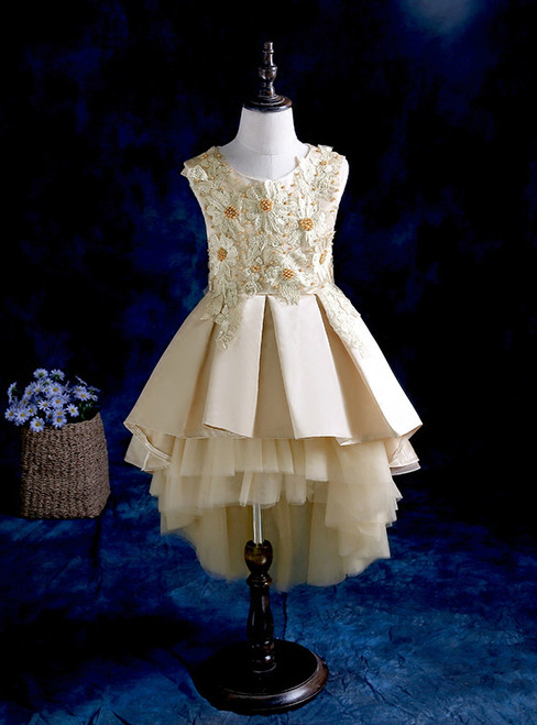 The princess's puffy dress high low gold tulle flower girl dress