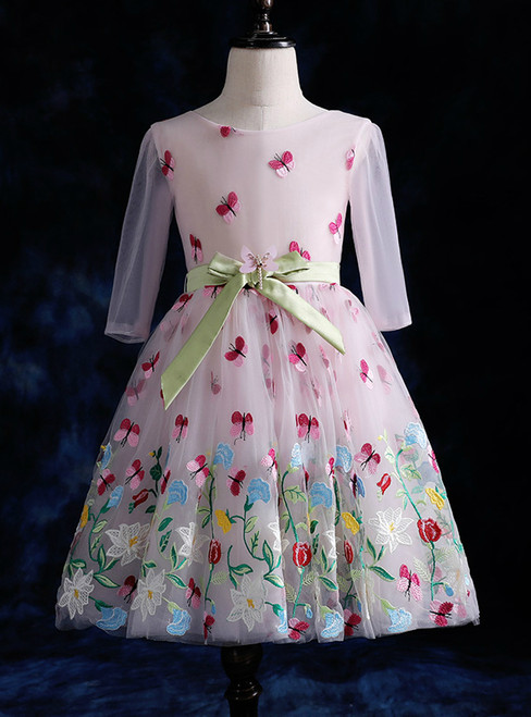 Pink Flower Girl Dress Long Sleeve Tulle Appliques Bow