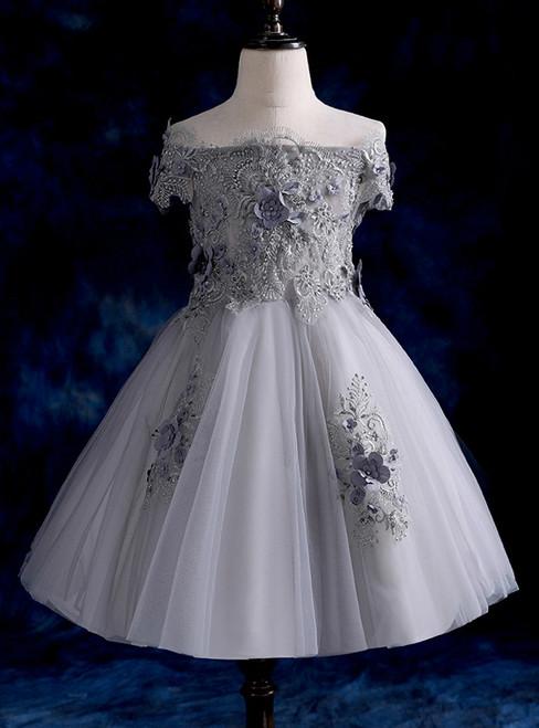 Gray Princess Dress  Off The Shoulder Tulle Appliques Flower Girl Dress