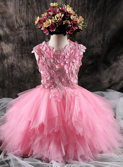 Girls Pink Dress Tutu Princess Dress Sweet Autumn flower