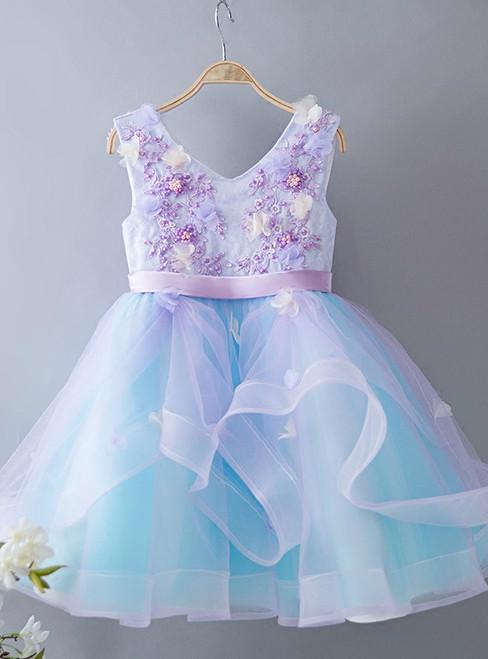 Princess Dress Blue Girl Dress Skirt Girl Birthday Dress