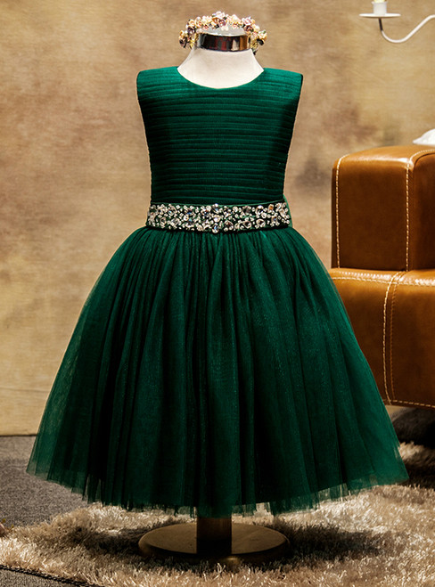 Green Tulle Beading Floor Length Flower Girl Dress