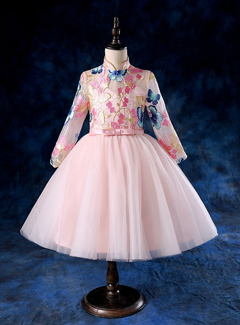 Pink Long Sleeve Tulle High Neck Flower Girl Dress