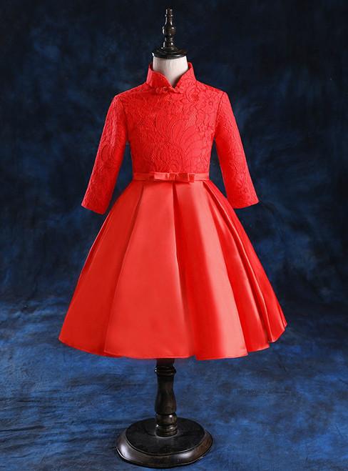 2017 Red Satin Long Sleeve High Neck Flower Girl Dress
