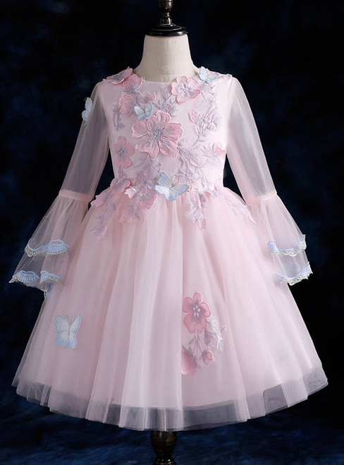 Pink Long Sleeve Tulle Appliques Scoop Neck Flower Girl Dress