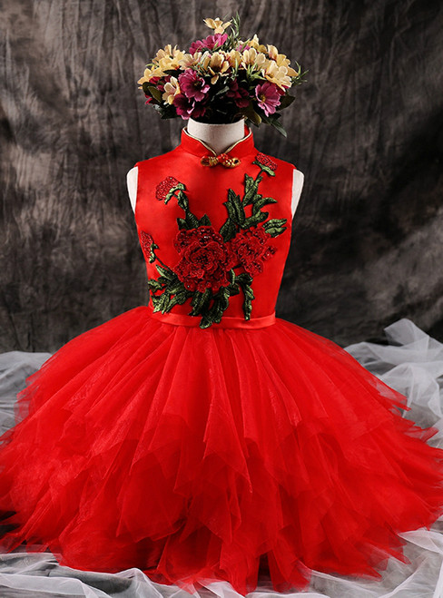 Chinese Wind Red Tulle  Appliques Flower Girl Dress