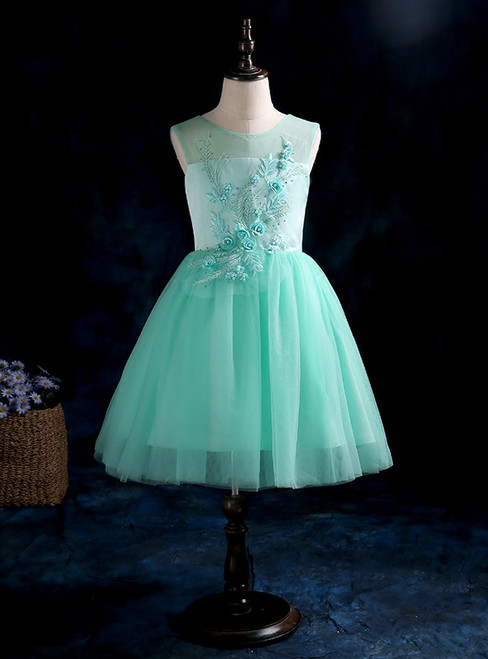 A-Line Green Sleeveless Tulle Appliques Flower Girl Dress