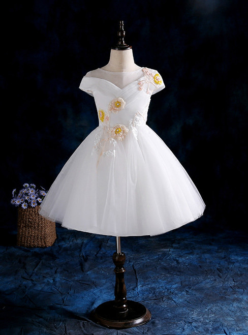 2017 White Cap Sleeve Tulle Beading Flower Girl Dress