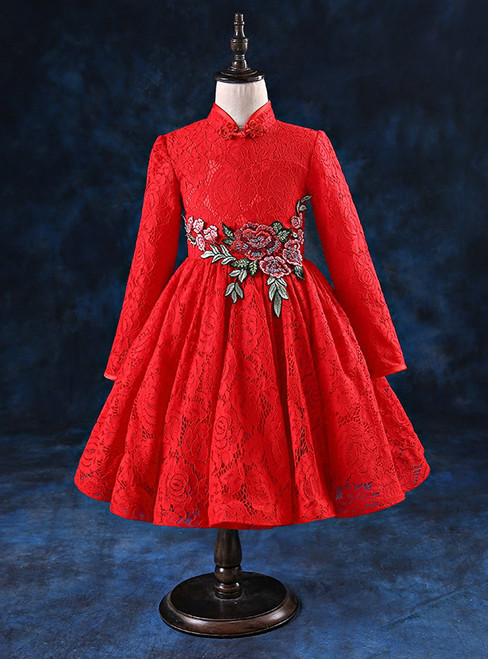 Red Lace High Neck Long Sleeve Embroidery Flower Girl Dress