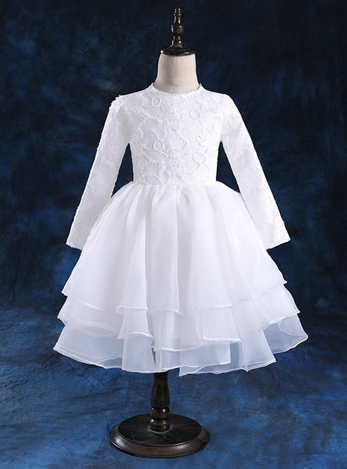 Long sleeved children's dress puffy princess dress and white gauze girl