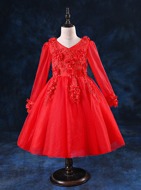 Red Long Sleeve Tulle Appliques Flower Girl Dress