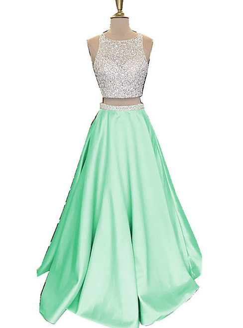 Two Piece Prom Dresses,Beautiful Open Back Sequins Mint Satin Prom Dresses Long