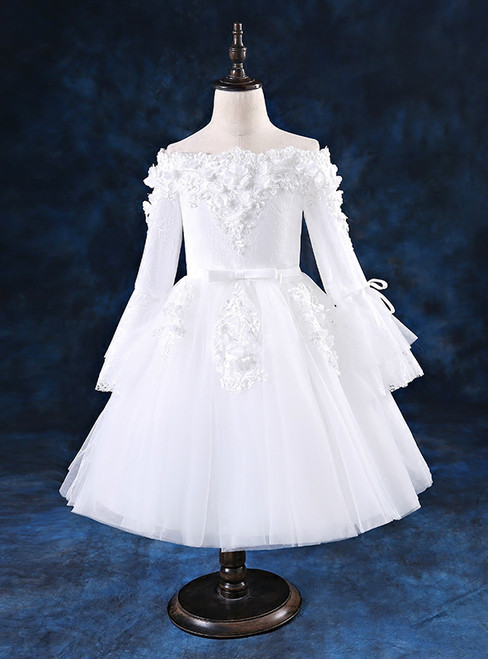 White Off The Shoulder Tulle Long Sleeve Appliques Flower Girl Dress 2018