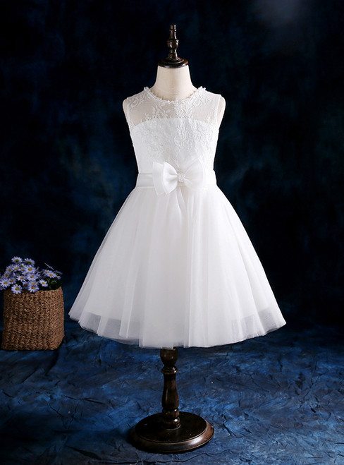 A-Line White Tulle With Bow Pearls Flower Girl Dress