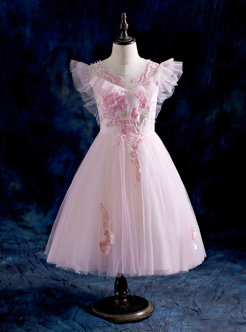 Ball Gown Pink Tulle Appliques  Flower Girl Dresses 2018