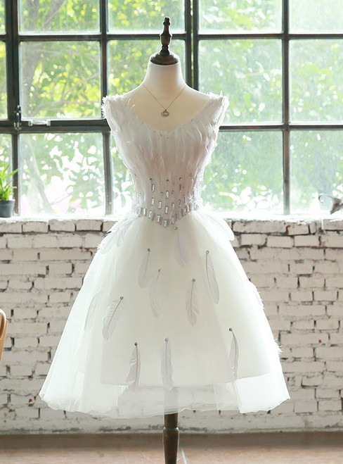 Wedding dress short dress evening dress feather ornaments toast