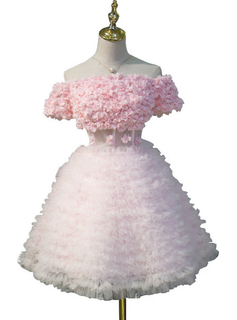 2018 Off The Shoulder Pink Short Sleeve Ruffle Homecoming Dresses