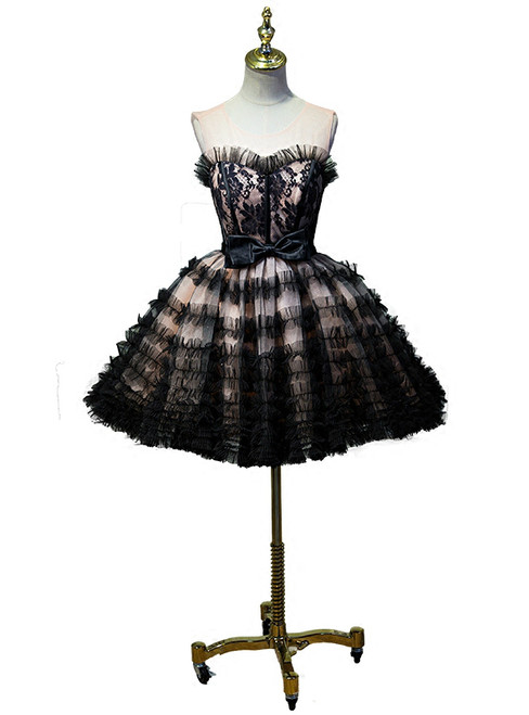 Black Ball Gown Sweetheart Tulle Lace up Bow Homecoming Dress