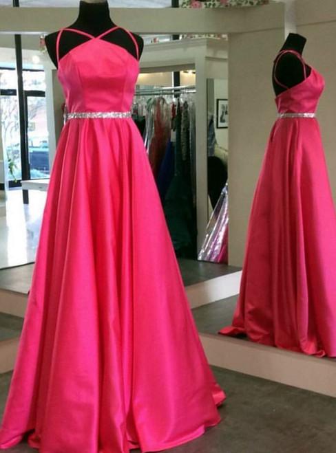 Fuchsia Spaghetti Straps A Line Prom Dresses,Prom Dresses 2017