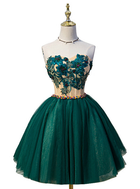Ball Gown Green Sweetheart Tulle Lace Up Homecoming Dress 2018
