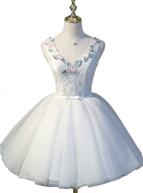 Ball Gown White Tulle Open Back homecoming Dresses