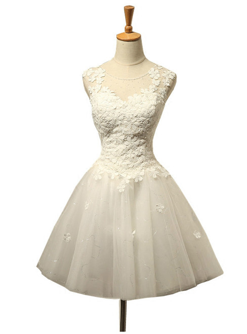 Short Wedding Dress Knee Length Tulle White Wedding Dress
