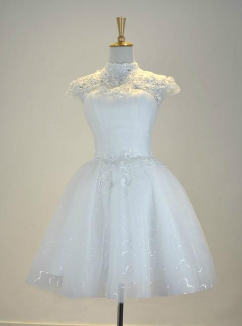 White Knee Length Cap Sleeve Tulle Short Wedding Dress