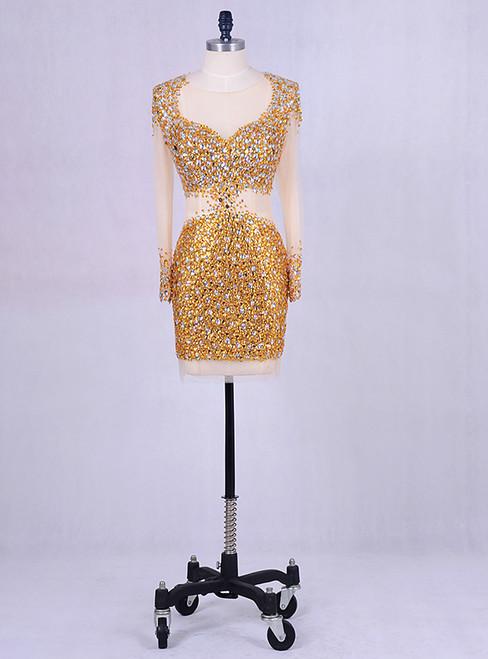 2018 Gold Short Evening Dress Crystals Prom Gowns Elegant Women
