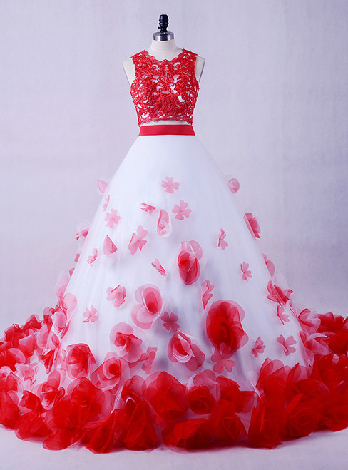 2017 White And Red Girls Flowers Vintage Lace Two Piece Prom Dress