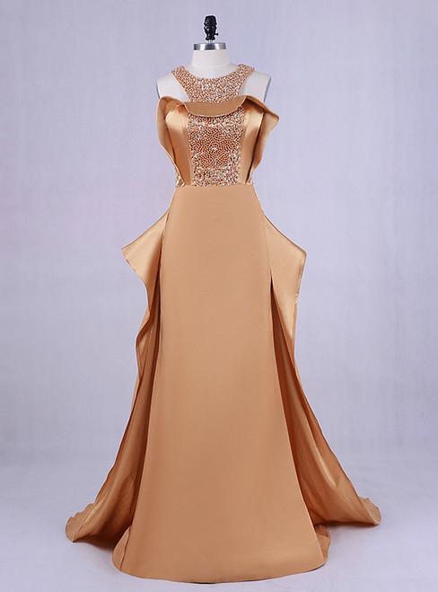 2018 Plus Size Bling Bling Beading Top Gold Prom Dresses Long Mermaid