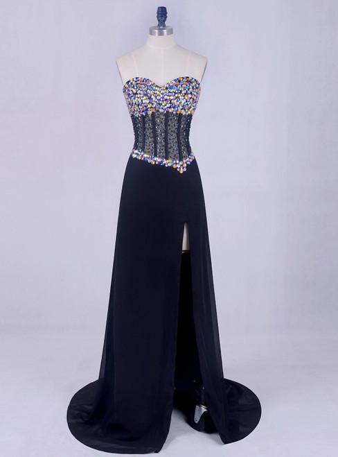 2018 Chiffon Cheap Corset Elegant Black Prom Dresses