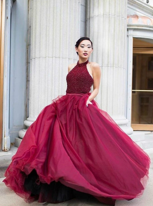 Crystal Burgundy Prom Dresses,Backless Tulle Floor Length Prom Dresses