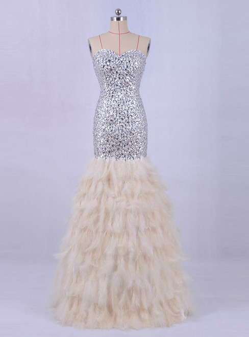 Feather Mermaid Evening Dress Crystals Bling Prom Party  Dresses
