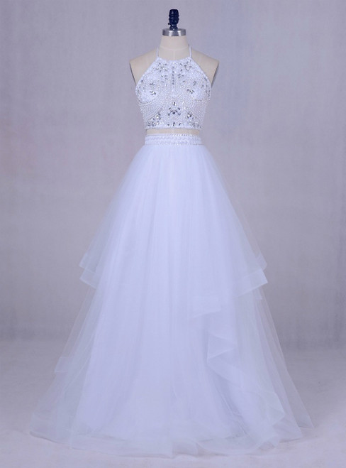 2017 White Tulle Long Graduation Beading Halter Backless 2 Piece  Prom Dress