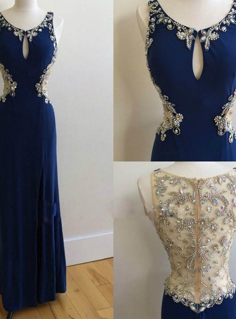 Off-shoulder Prom Dress Chiffon Blue Sexy Prom Dress