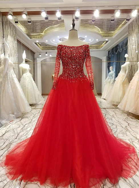 Red Crystal Beading Long Sleeved A-line Prom Party Gowns