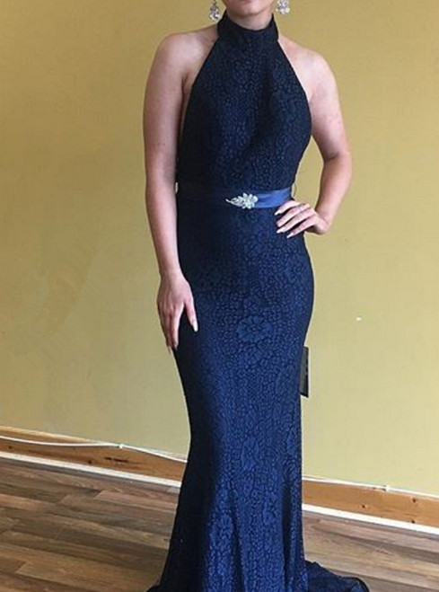 Sexy Open Back Mermaid Navy Blue Lace bridesmaid Dress