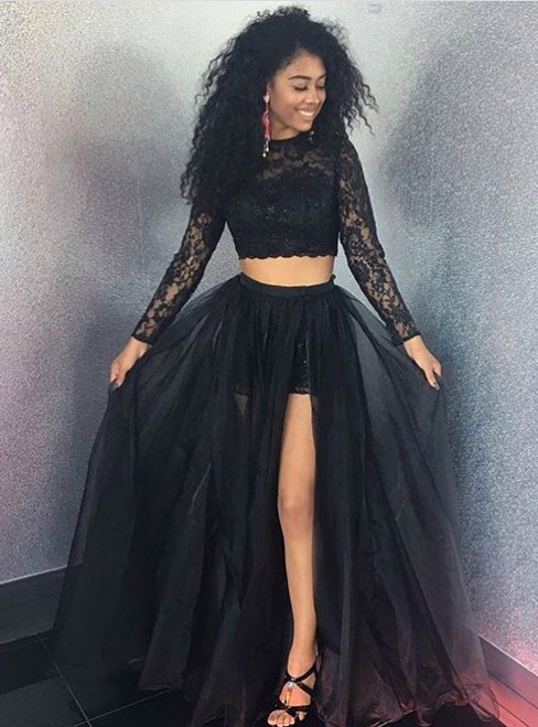 Two Pieces  Black A-Line Long Sleeve O-Neck Long Prom Dresses