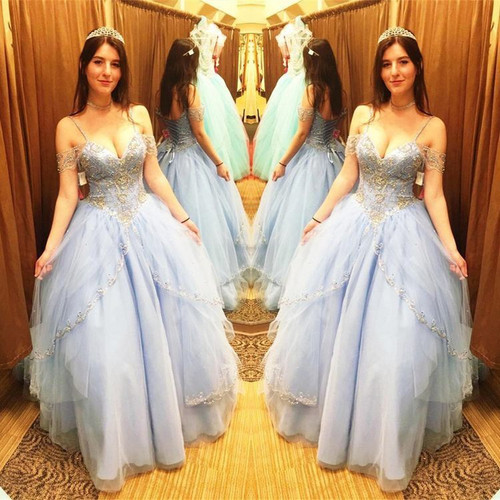 Quinceanera Dresses,Off the Shoulder Beads Ball Gowns Sweet 16 Dresses