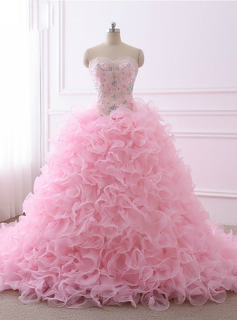 Quinceanera Dresses Ball Gown Sweetheart Organza Crystals Beaded Ruffles Pink