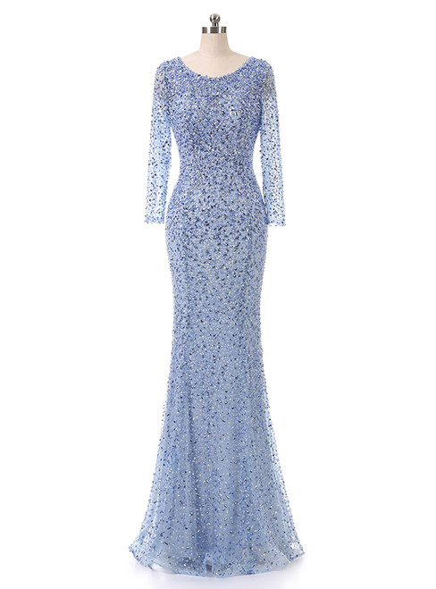 Floor-length party dress beading sequin fishtail long sleeve evening dress
