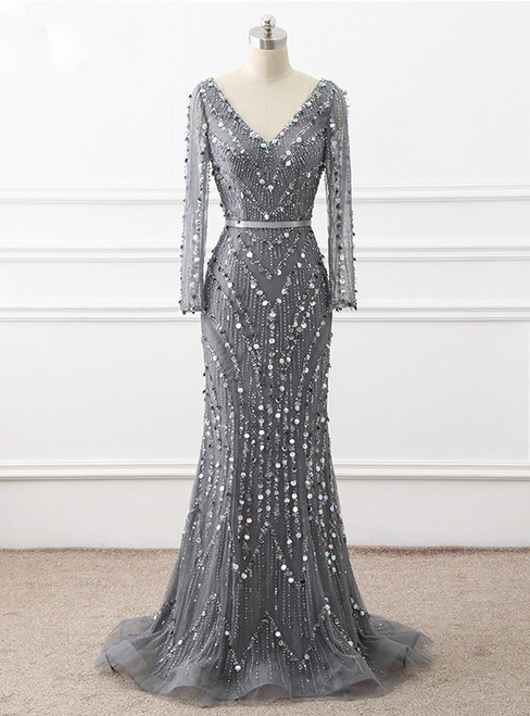 Heavy Beading Handmade Mermaid Long Sleeve Sexy V-neck evening party gown