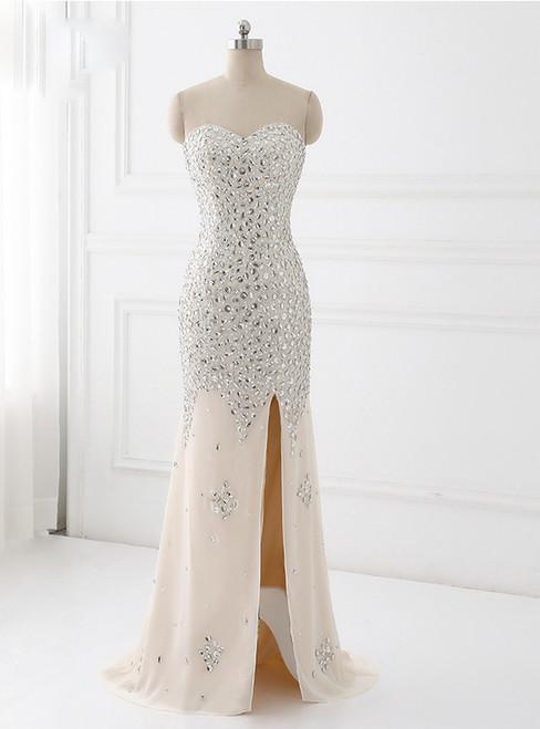 Beaded Evening dresses Sweetheart Slit Champagne Mermaid evening Dress