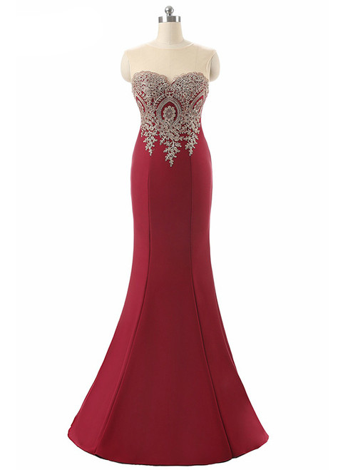 Sexy Backless Red Mermaid Lace Appliques Evening Gowns