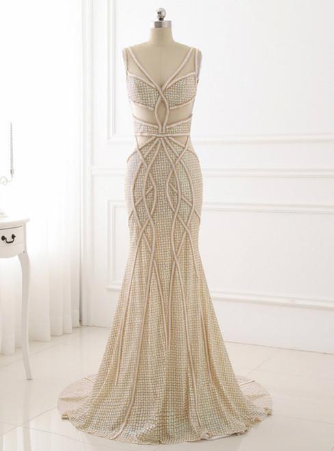 Unique Design Formal Women Dresses Illusion Back Evening Dress