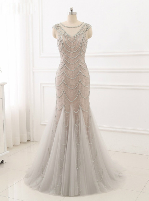 2018 New Evening Dresses Mermaid Formal Women Gowns Lace Beading