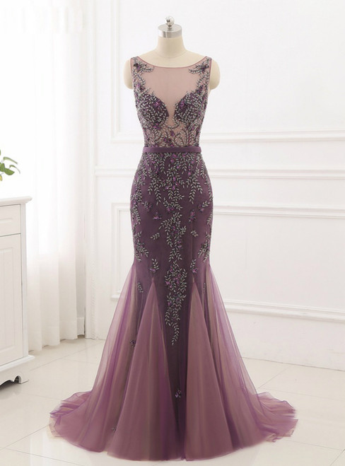 2018 New Formal Prom Party Gowns Women Wear Fancy Beading Mermaid Evening Dress