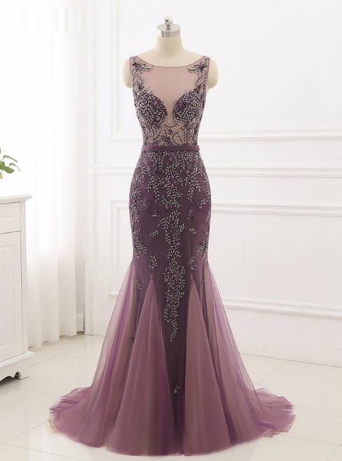 2018 New Formal Prom Party Gowns Women Wear Fancy Beading Mermaid Evening Dress