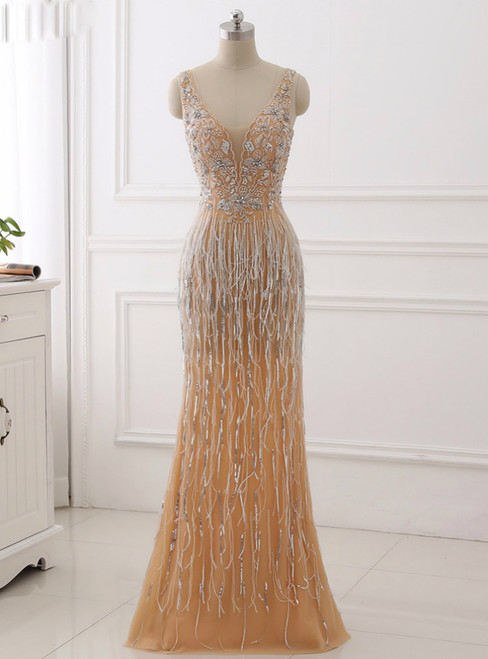 Sexy V-Neck Heavy Beaded Prom Dresses With Crystal Sequined Mermaid Evening Dresses 2018
