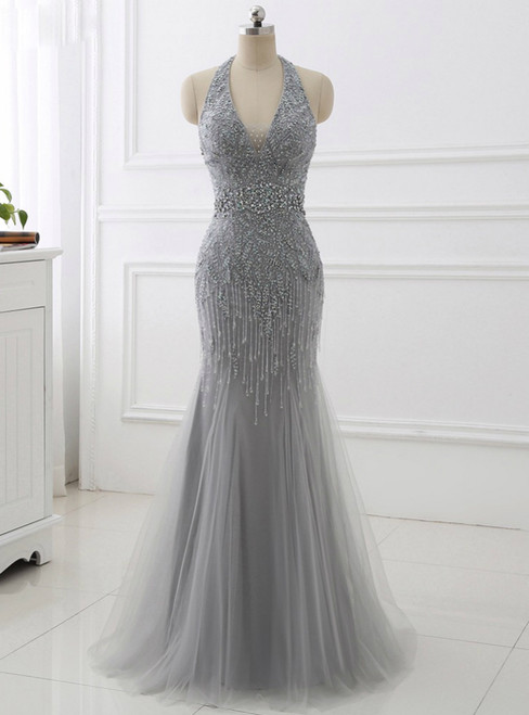 2018 Mermaid Beading Formal Women Dresses Sexy Backless Gray Tassel Evening Dress